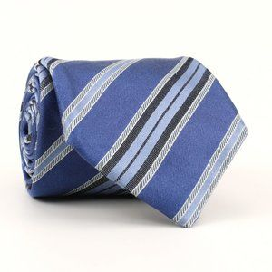 Canali Brown Label Silk Neck Tie Blue/Gray Stripes